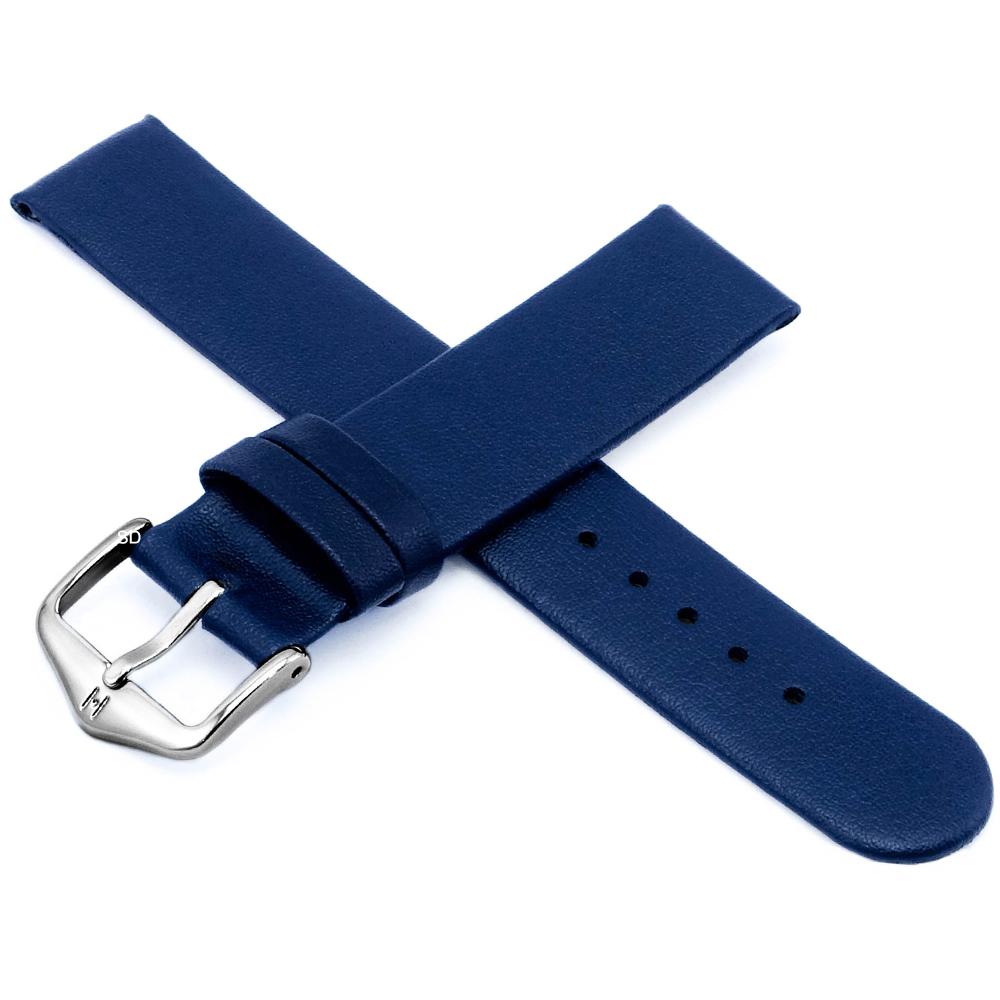 海奕施 HIRSCH Scandic M 設計感圓弧皮革錶帶 防水可清洗-藍