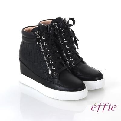 effie 心機美型 全牛皮方格壓紋內增高休閒鞋 黑