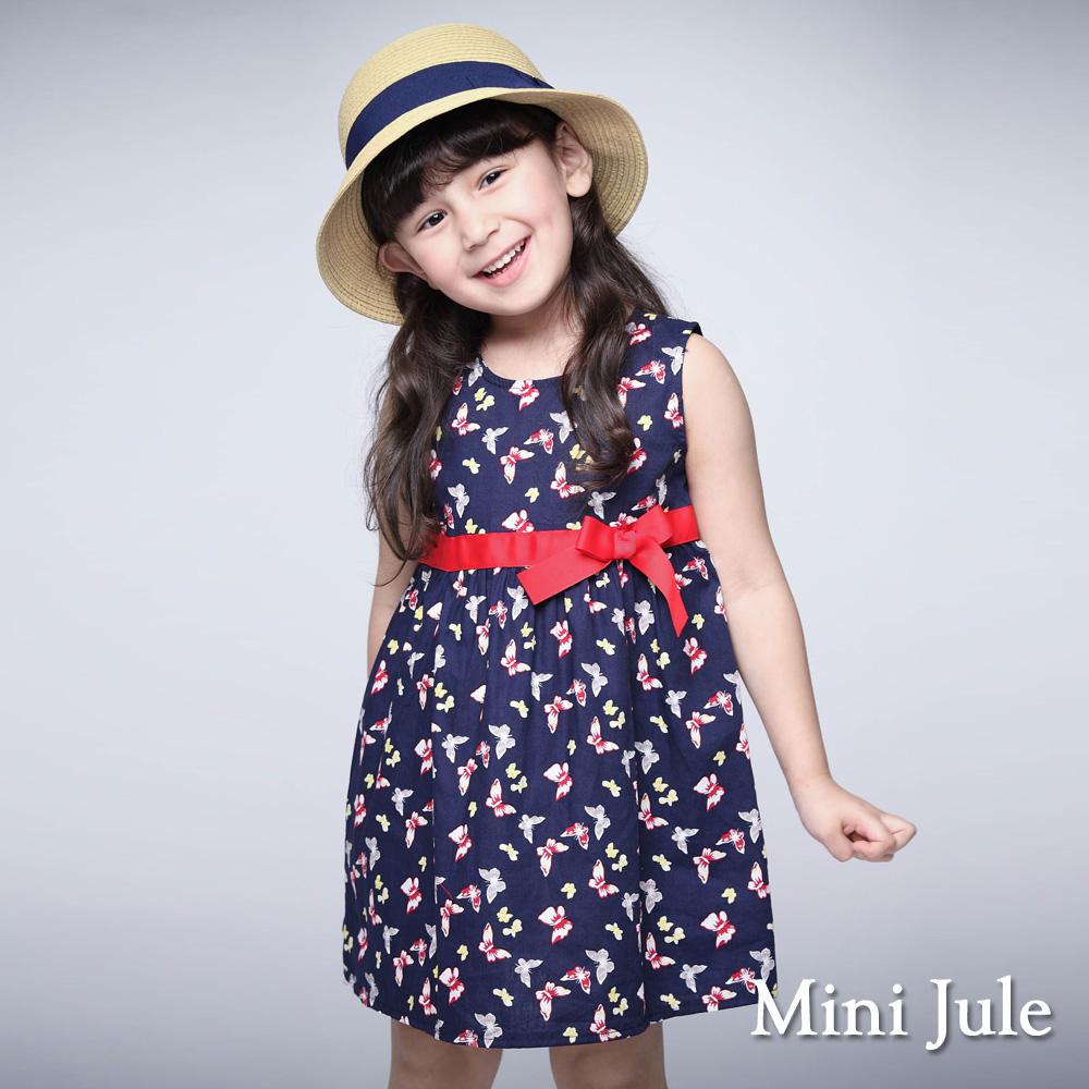 Mini Jule 童裝-洋裝 滿版蝴蝶飛舞無袖洋裝(寶藍)