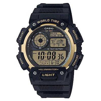 CASIO 世界之城10年電力數位電子錶(AE-1400WH-9A)-金框/51.4mm