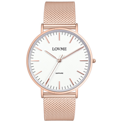 LOVME 城市簡約風手錶-IP玫x白/41mm