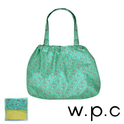 w.p.c 時尚包包的雨衣 束口防雨袋 (綠底小花)