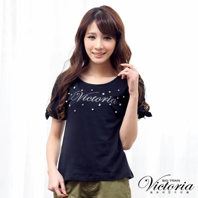 Victoria 蕾絲剪接蝴蝶結綁帶短袖T-女-黑