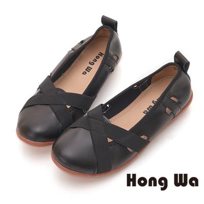 Hong Wa 簡約舒適牛皮平底包鞋 - 黑
