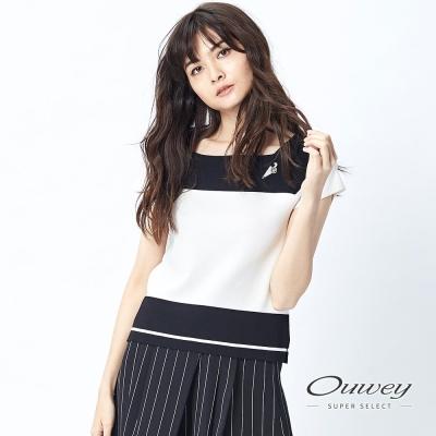 OUWEY歐薇-高質感彈性方領針織衫-白-粉