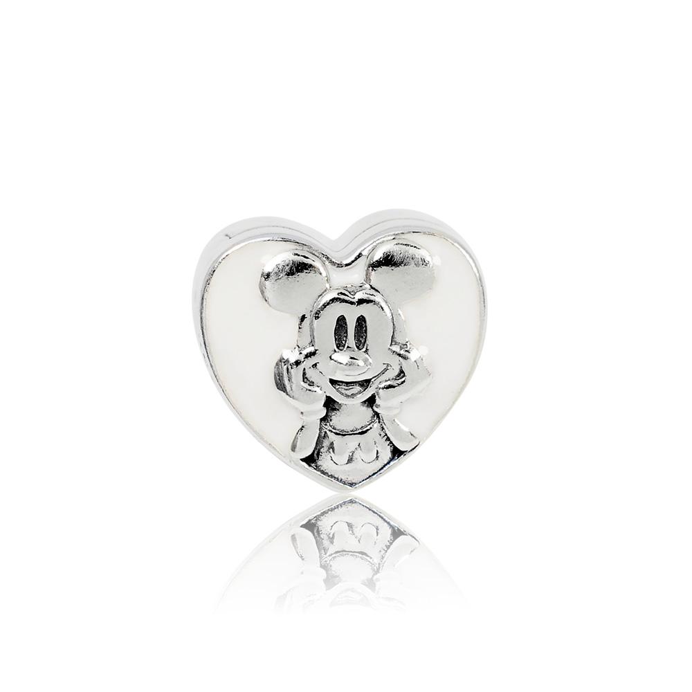 Pandora 潘朵拉 迪士尼復古愛心米奇 夾扣式純銀墜飾 串珠