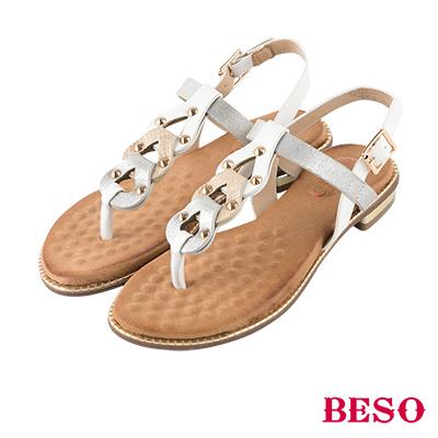 BESO 個性簡約 鉚釘壓紋拼接夾腳涼鞋~銀