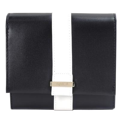 agnes b.皮革直紋飾帶翻蓋短夾(黑)
