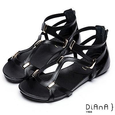 DIANA 簡約韓風—羅馬層次交叉線條楔型涼鞋 –黑