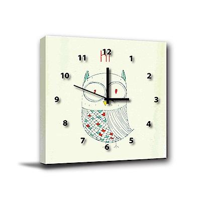 24mama掛畫-單聯式方型 掛畫靜音時鐘 貓頭鷹博士 40x40cm