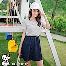 野餐系列~KITTY印圖拼接丹寧牛仔縮腰洋裝-OB大尺碼