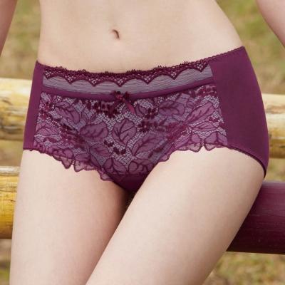 曼黛瑪璉-Marie One 集中托高 低腰平口棉內褲(復古紫)
