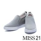 休閒鞋 MISS21 率性簡約車線牛皮內增高休閒鞋-灰