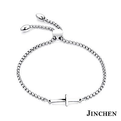 JINCHEN 白鋼祈福十字架手鍊