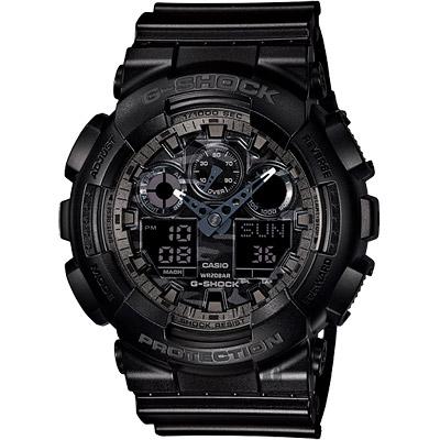 CASIO卡西歐G-SHOCK迷彩叢林雙顯錶-灰55mm