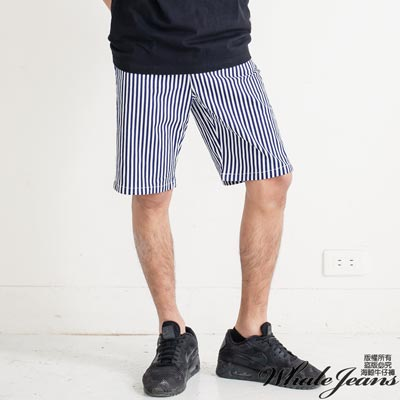 WHALE JEANS 男款經典潮流直條紋韓版棉質中褲