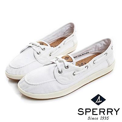 SPERRY 美式休閒柔軟輕量帆布鞋(女)-白