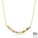 點睛品 G系列 時尚方形幾何瑪瑙純金項鍊
