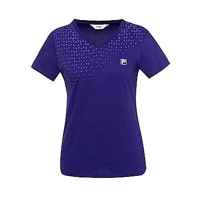 FILA 女款純棉V領T恤-深紫 5TES-1523-DP