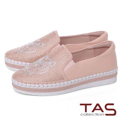 TAS 獅子造型水鑽質感休閒鞋-甜美粉