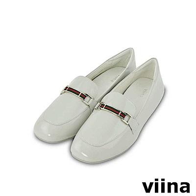 viina-休閒系列-小織帶亮皮真皮樂福鞋-氣質灰