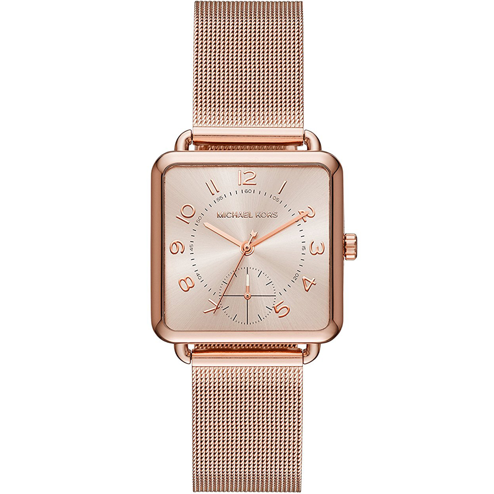 MICHAEL KORS 質感簡約米蘭帶時尚手錶-玫瑰金/31mm