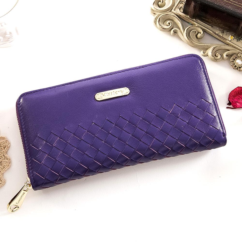 DF Flor Eden皮夾 - 巴黎簡約系列羊皮編織款單拉鍊長夾-羅蘭紫
