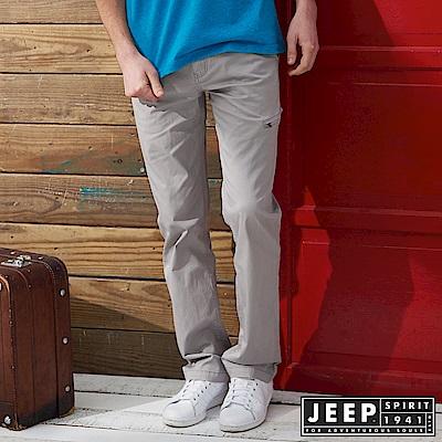 JEEP 都市休閒簡約素面長褲 -淺灰色