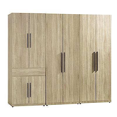 AT HOME-凱文7尺梧桐三件組合衣櫃[中抽掀鏡+雙吊+單抽)(210*54*197cm