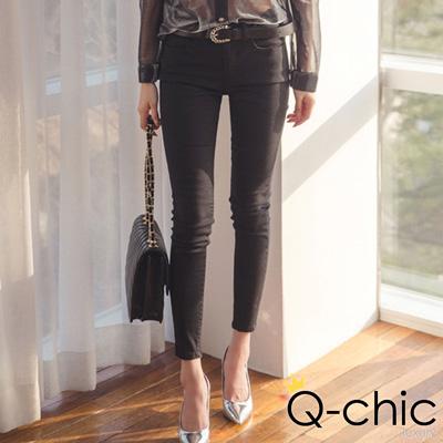 正韓 基本款舒適修身窄管褲 (共二色)-Q-chic