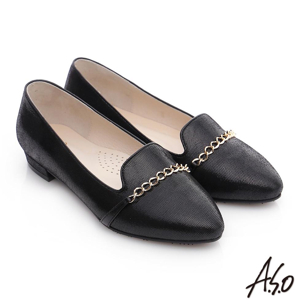 A.S.O 優雅美型 羊皮條帶窩心低跟鞋 黑色