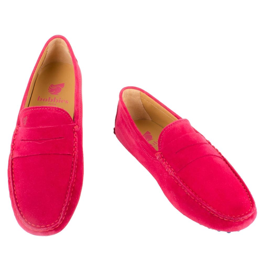Bobbies 男士原色經典豆豆鞋-莓紅