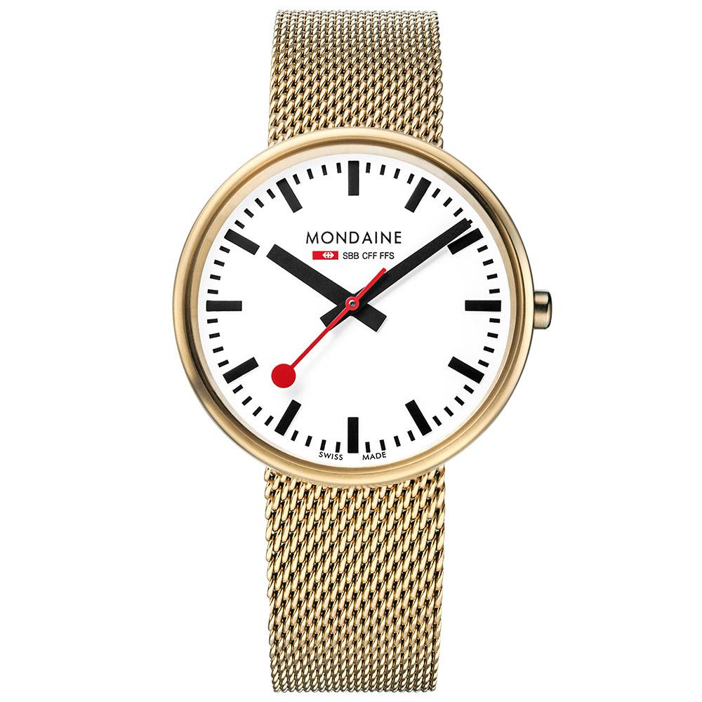 MONDAINE 瑞士國鐵MINI GIANT小巨人腕錶/35mm-霧金鍊帶
