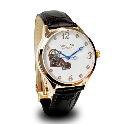 Arseprince 心心相印鏤空時尚機械腕錶-棕色/35mm