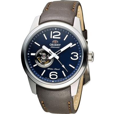 ORIENT 東方錶 SEMI-SKELETON 系列半鏤空機械錶-藍x咖啡/42mm
