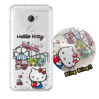 正版凱蒂貓 HTC One X10 5.5吋 夢幻童話 彩鑽氣墊手機殼(遊樂園)