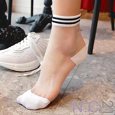 N.C21- 正韓 條紋拼色透膚紗中筒襪 (共二色)