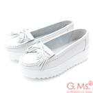 G.Ms. 牛皮莫卡辛厚底鬆糕流蘇蝴蝶結鞋A款-白色
