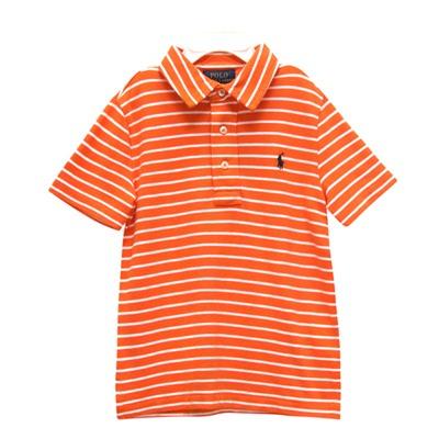 Ralph Lauren 男童經典刺繡小馬條紋短袖POLO衫-橘/白(3/3T)