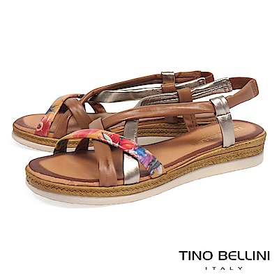 Tino Bellini 西班牙進口熱帶花叢坡跟涼鞋_ 咖+古銅金