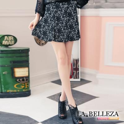 La Belleza蕾絲壓花圖印波浪裙