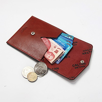CALTAN-零錢袋 小方包 牛皮 真皮小物 零錢包 女包 女用-2188cd-紅