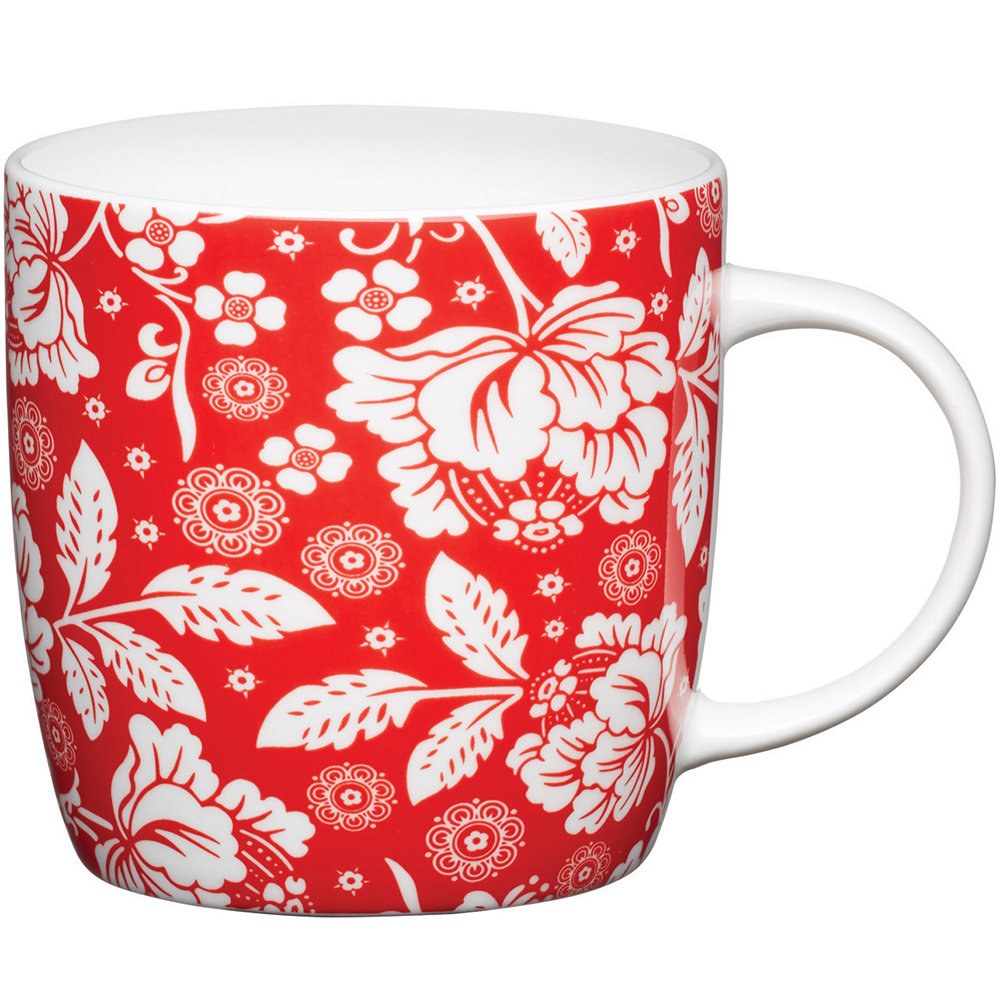 KitchenCraft 骨瓷馬克杯(紅花)