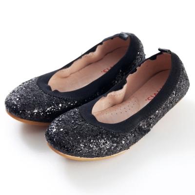 G.Ms.旅行女孩II-亮片鬆緊口可攜式軟Q娃娃鞋(附鞋袋)-閃耀黑