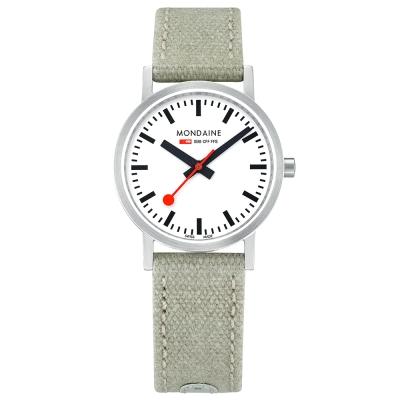MONDAINE 瑞士國鐵Classic限量腕錶-白x灰綠錶帶/30mm