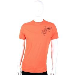 VERSACE 橘色品牌LOGO圖騰短袖上衣
