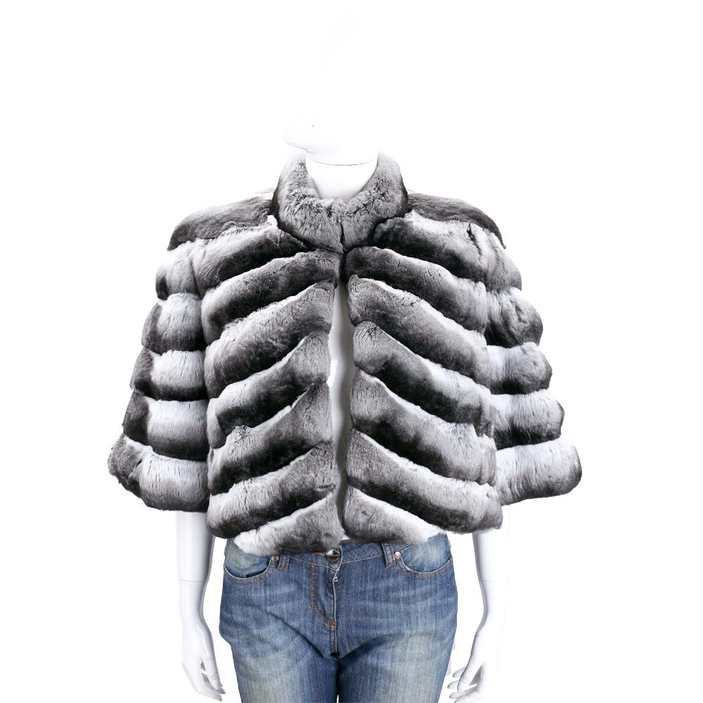 GENNY 漸層灰短版皮草羊皮外套