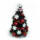 台製1尺(30cm)雪花紅果裝飾黑色聖誕樹