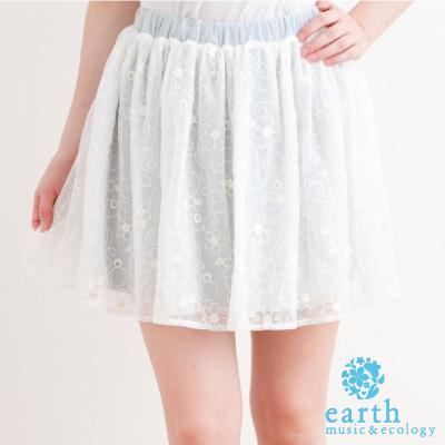 earth music&ecology 透感網紗蕾絲裙