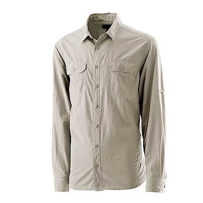 【Wildland 荒野】男可調節抗UV排汗襯衫卡其